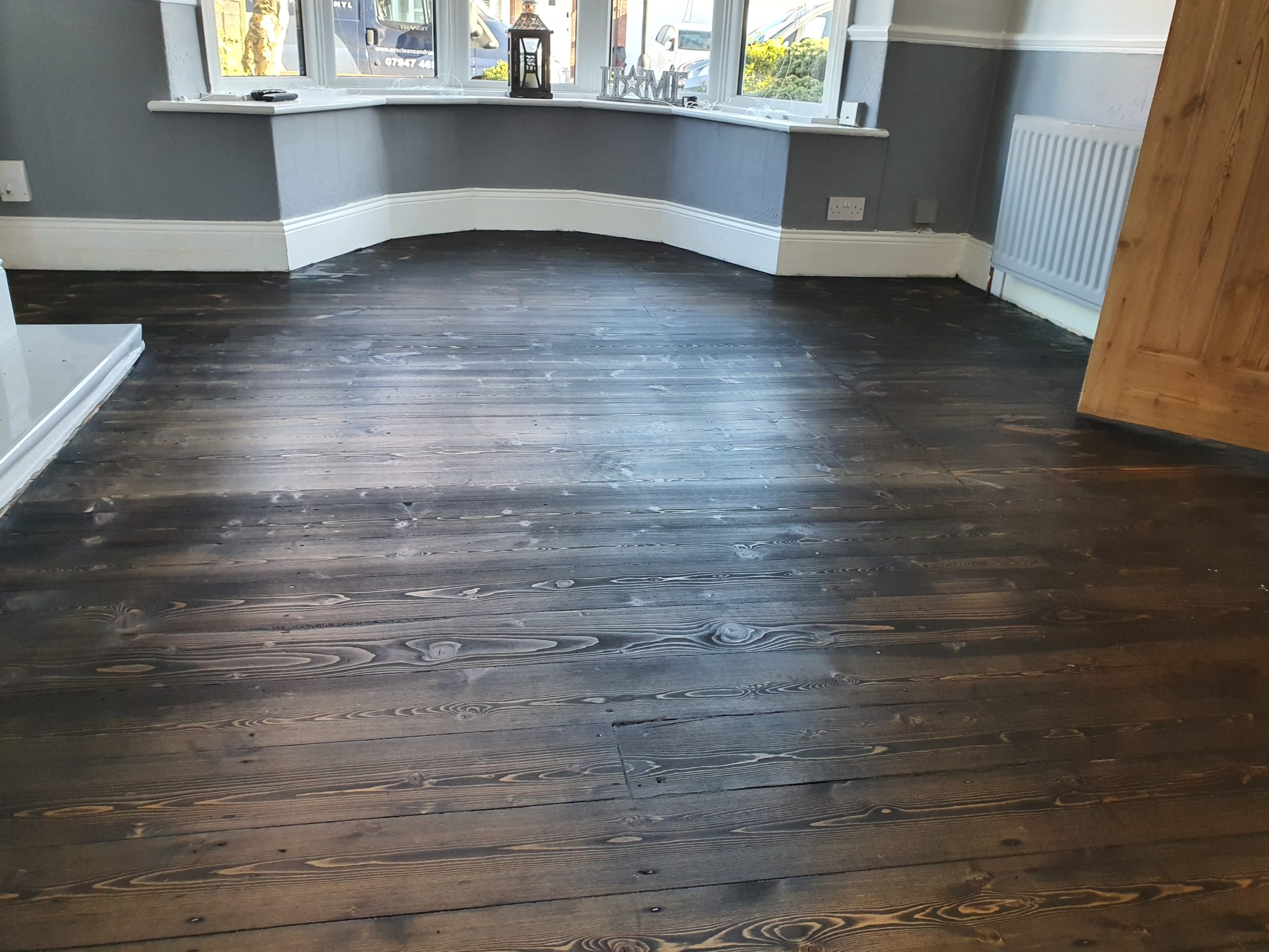 Wood floor sanding and staining in Whitley Bay